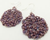 Purple Beaded Dangle Earrings Purple Circle Earrings Beaded Purple Jewelry Sterling Silver