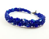 Cobalt Blue Beaded Bracelet Dark Blue Jewelry Beaded Jewelry Matte Blue Bracelet