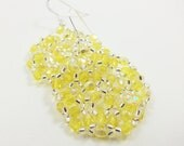 Light Pastel Yellow Earrings Beaded Jewelry Beadwork Beadweaving Sterling Silver Earwires