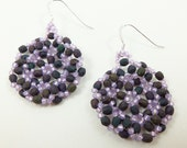 Dark Purple Beaded Earrings Lilac Dangle Earrings Purple Jewelry Circle Earrings Sterling Silver
