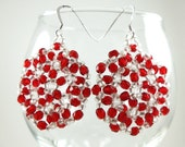 Red White Dangle Earrings Red Beaded Earrings White Circle Earrings Sterling Silver Beadweaving Beadwork