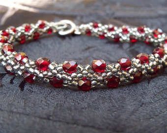 Red Silver Beaded Bracelet Blood Red Seed Bead Beadweaving Beadwork Jewelry