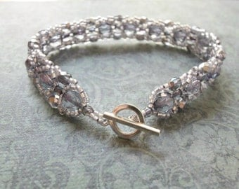 Light Purple Beaded Bracelet Sterling Silver Toggle Clasp Purple Beaded Jewelry Lavender Lilac Bracelet 7.5 inches