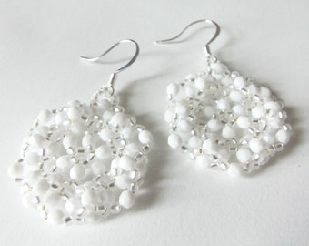 White Earrings Sterling Silver Beaded Earrings White Beadwork Earrings
