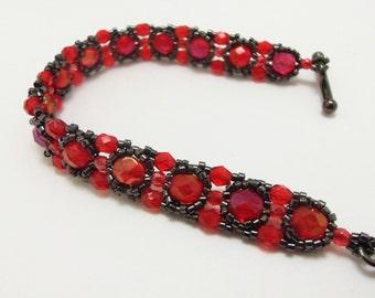 Red Gothic Bracelet Red Jewelry Black Bracelet Gothic Jewelry Victorian Style Bracelet