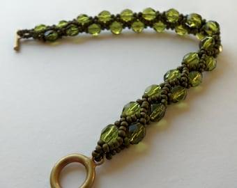 Olive Green Bracelet Olive Beaded Bracelet Antiqued Brass Matte Green Beadwoven Bracelet