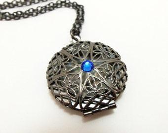 Gothic Locket Victorian Jewelry Dark Silver Antique Style Necklace Blue Gray