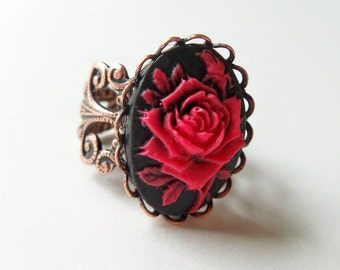 Rose Cameo Adjustable Ring Red Rose Ring Black Red Ring Copper Adjustable Ring Victorian Ring