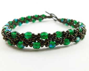 Bronze Bracelet Green Jewelry Beaded Jewelry Dark Bracelet Forest Green