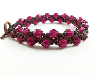 Pink Copper Bracelet Pink Beaded Copper Bracelet Antiqued Dark Pink Toggle Clasp