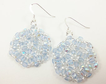 Icy Blue Beaded Earrings Light Blue Jewelry Pale Blue Dangle Earrings Sterling Silver