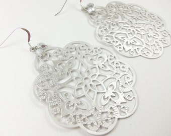 Sterling Silver Earrings Silver Filigree Large Statement Jewelry Silver Metal Dangle Earrings