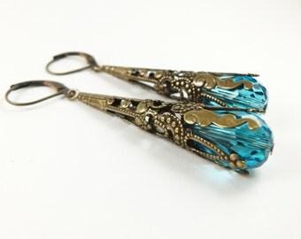 Teal Earrings Brass Filigree Leverback Dangle Earrings Teardrop Earrings Victorian Jewelry
