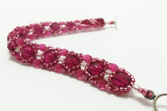 Pink Bracelet Beaded Bracelet Bright Pink Jewelry Rose Pink Sterling Silver