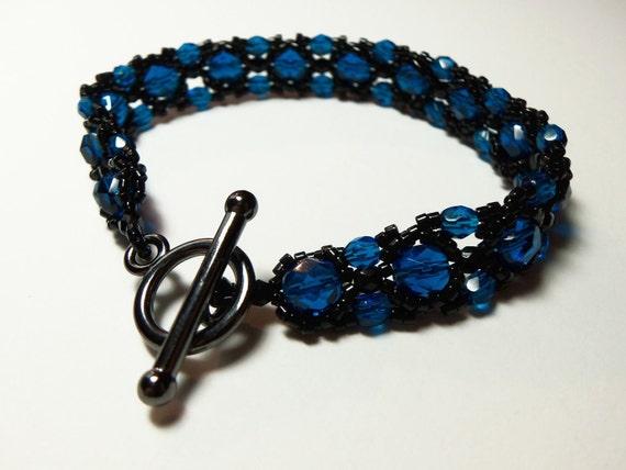Black Blue Beaded Bracelet Dark Blue Jewelry Beadweaving Toggle Clasp