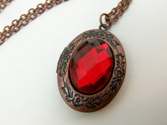 Reserved for Shelby - Copper Locket - Copper Necklace - Red Jewelry - Red Necklace