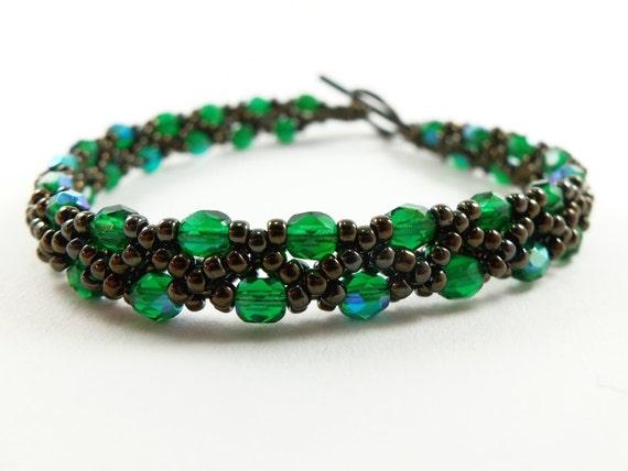 Bronze Bracelet Green Jewelry Beaded Jewelry Dark Bracelet Forest Green