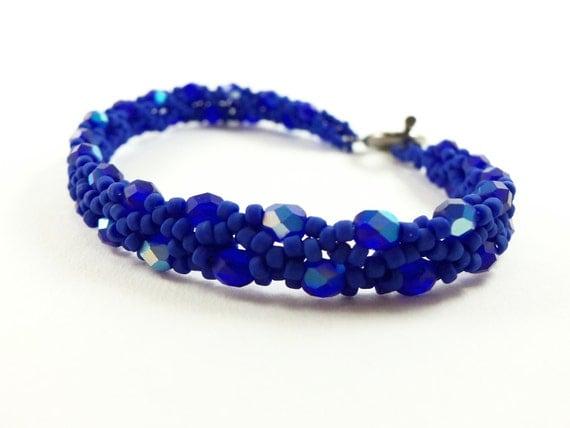Cobalt Blue Beaded Bracelet Dark Blue Jewelry Beaded Jewelry Matte Blue Bracelet