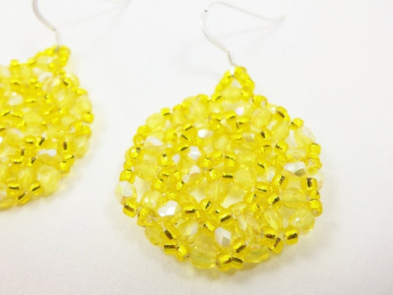 Yellow Beaded Earrings Bright Yellow Dangle Earrings Summer Jewelry Sunshine Lemon Sterling Silver