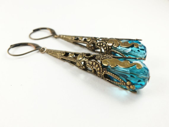 Teal Earrings Brass Filigree Leverback Dangle Earrings Teardrop Earrings Victorian Jewelry