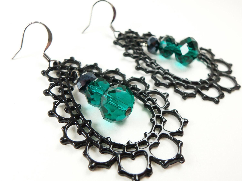 green dangle earrings black green earrings large filigree
