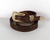 "Vintage Belt Leather M 36"" Tooled Belt Women Teen Girl Rodeo Skinny Large Gold Golored  Buckle Thin Brown Belt Price Under 20"
