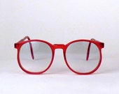 Vintage Round Glasses Retro Large Lens Woman's Red 1980s Super Cool Great for Sun Glasses Price Under 35 (C)