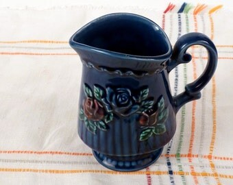 """Vintage Small pitcher / Creamer / Royal blue / Navy blue / Sculpture relief roses and  textured strips / 5 tall"""""""