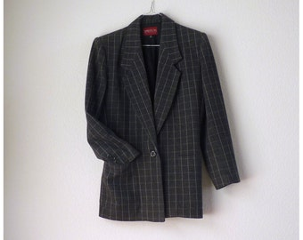 Vintage Blazer Suit Jacket / Dark Grey Sasson France pin stripe / 1980's Shoulder pad oversize / Fully lined single breasted preppy  8 US