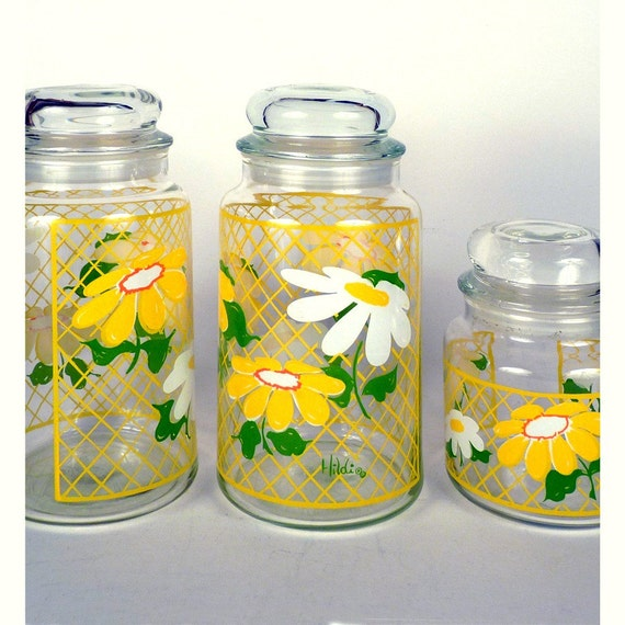 Vintage Glass Containers - Canisters Daisy Design By Hildi 2 large 1 small clear jars buy 1 at a time or or all