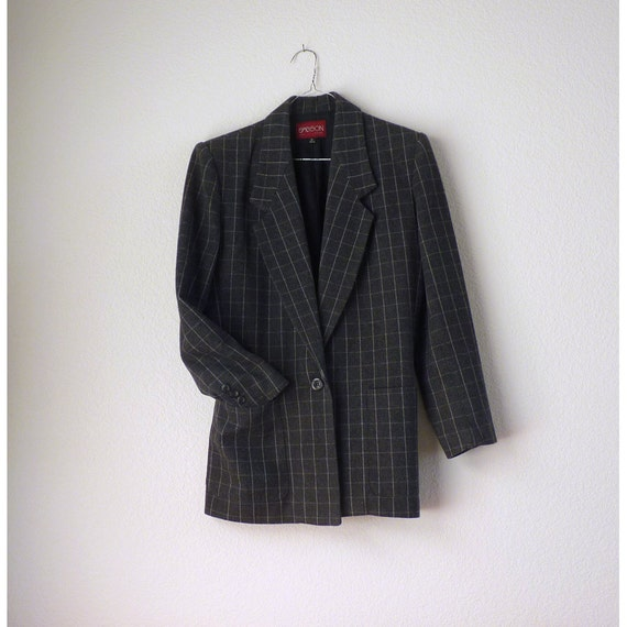 Vintage Blazer Suit Jacket / Dark Grey Sasson France pin stripe / 1980's Shoulder pad oversize / Fully lined single breasted preppy  8 US