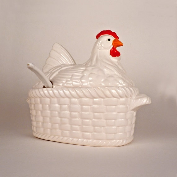 Vintage Chicken Soup Tureen With Lid Ladle Ceramic Basket Bowl