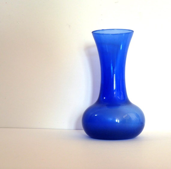 Vintage Vase Blue Glass Mothers Day Women Bulb Shape With a Stem 8 x 4.5 Price Under 15