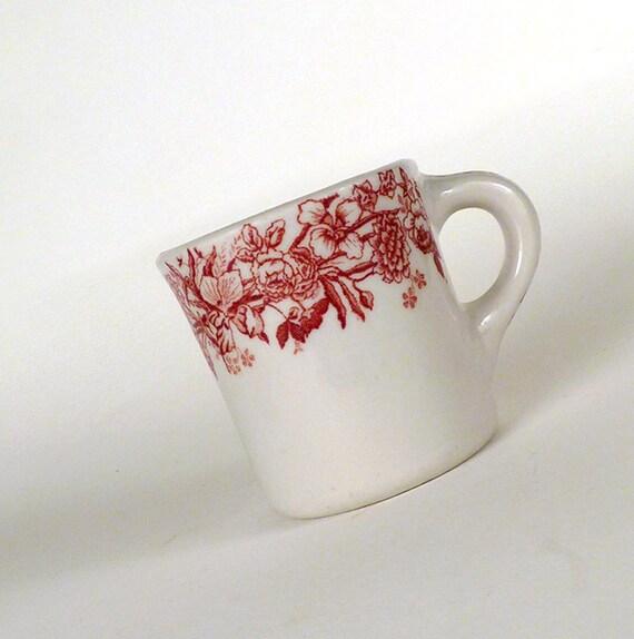 Vintage Coffee Cup Mug Floral Design White Red Porcelain Old Under 10