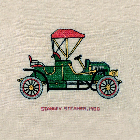 Vintage Embroidery Needle Point Art - Antique Cars Art, Antique Cross Stitch - Stanley Steamer 1908 - Collectible 1960s - Unisex Adults Kids
