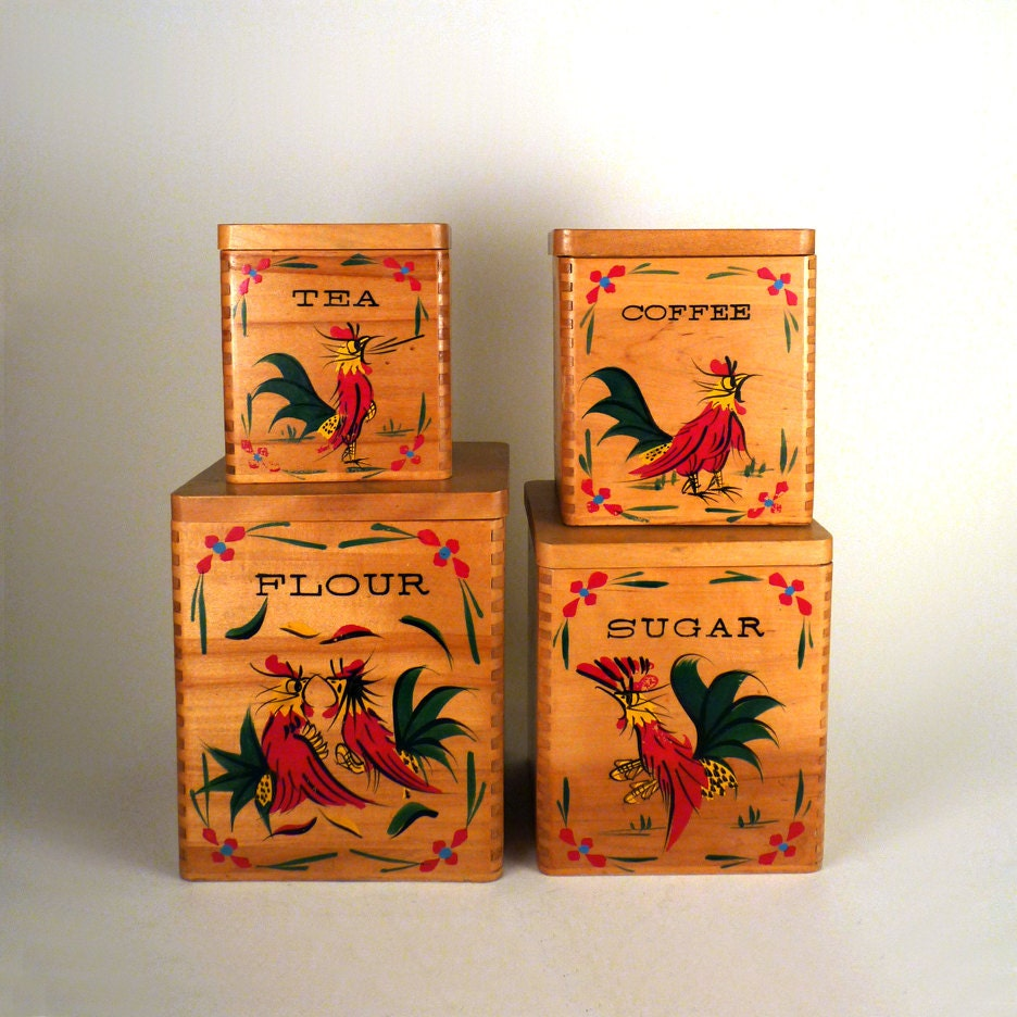 Vintage Wooden Canisters 40s 50s Flour Boxes Kitchen Rooster 4