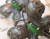 Vintage Mexican Silver Butterfly Earrings with Green Onyx Stone