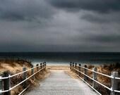 Beach Decor,  Nautical Wall Art, Fine Art Photography, Seascape, Boardwalk, Off Season Print,  11X14 Mat, Stormy Sky