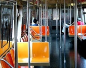 NYC Subway, Orange, Yellow, Fine Art Photography,  Bright Colors, 11X14 Mat, Wall Art, Wall Hanging, Ready to Frame