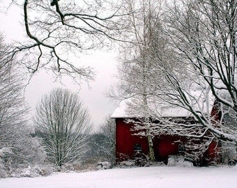 Red Barn in Snow, Winter Scenery,  Landscape, Christmas Decor, Nature Photography,  Fine Art Print,  11X14 Mat,  Landscape,  Winter Scene