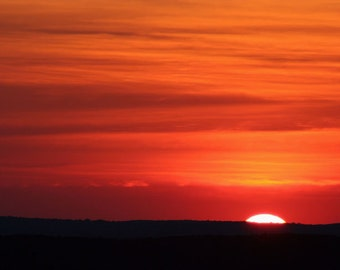 Sunset, Nature Photography,  Orange,  Fine Art Print,  Landscape, til Tomorrow, 8X10 Mat,  Ready to Frame