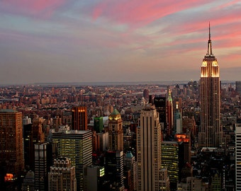 New York City, Skyline, Empire State Building, Cityscape,  Fine Art Wall Print,  Sunset,  8X10 Mat, Ready to Frame,  Landscape Photography