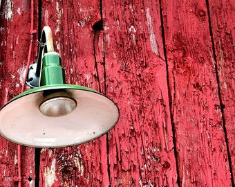 Red and Green, Rustic Decor, Barn Light, Red Barn, Small Wall Art, 8X10 Mat