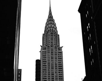 New York City, Black and White Art,  Fine Art Photography, Chrysler Building, 11X14 Mat,  Architecture, Wall Hanging, Ready to Frame