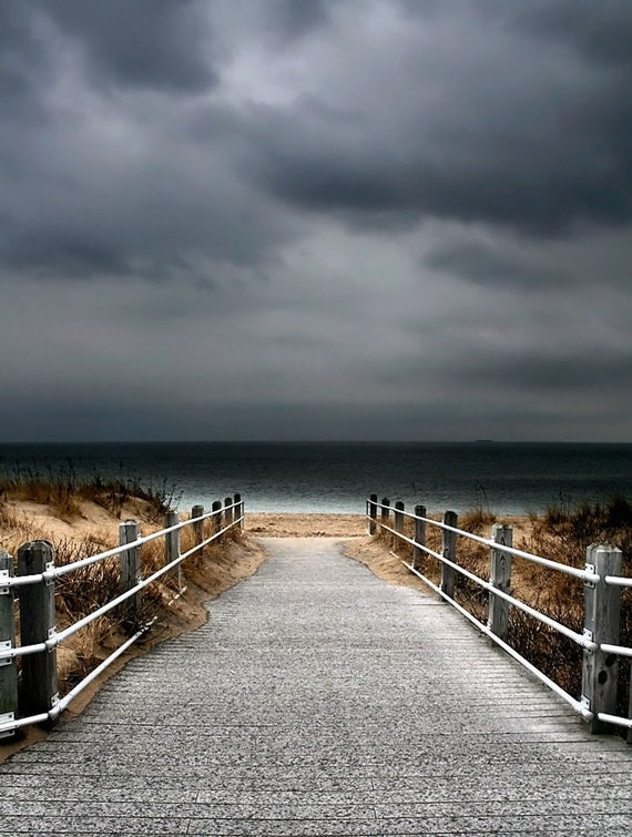 Beach Decor,  Nautical Wall Art, Fine Art Photography, Seascape, Boardwalk, Off Season Print,  11X14 Mat, Stormy Sky