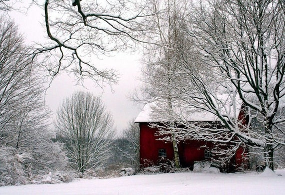 Red Barn In Snow Winter Scenery Landscape By