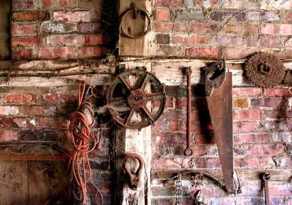 Rusted Tools, Rustic Decor,  Rural Wall Art,  11X14 Mat,  Wall Hanging,  Rust, Read to Frame, Brick and Wood