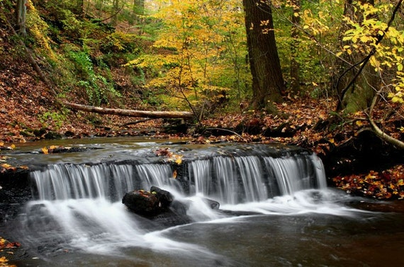 Nature Photography Fine Art Waterfall Fall Colors 11x14