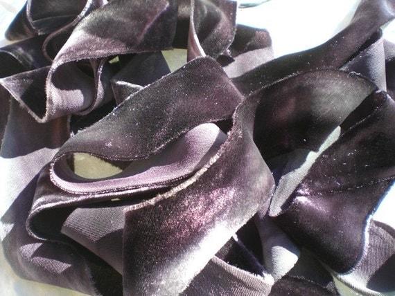 Hanah Silk Velvet Ribbon- Stormy Monday- 3 yds, 1.5 in. wide
