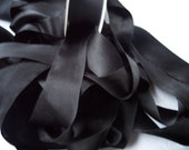 PURE SILK SATIN  Ribbon Black Color 1 1/2 inch wide 36mm Priced Per Yard